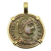 Roman Alexandria AD 325–326, Saint Helena follis in 14k gold pendant.