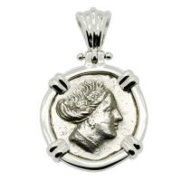 Greek 340-170 BC, Nymph Histiaia tetrobol in 14k white gold pendant.