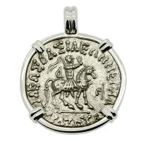 Greek 57-35 BC, King Azes I on horseback and Goddess Athena tetradrachm in 14k white gold pendant.