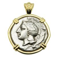 Greek Italy 340-334 BC, Athena and Lion stater in 14k gold pendant.