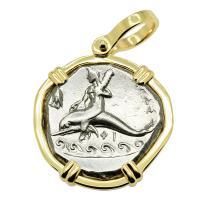 Greek - Italy 290-281 BC, Taras riding Dolphin and Horseman nomos in 14k gold pendant.