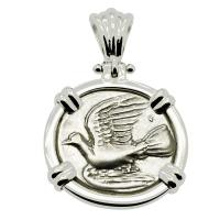 Greek 330-280 BC, Dove and Chimaera triobol in 14k white gold pendant.