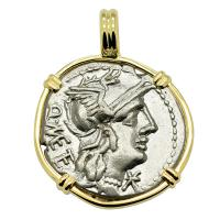 Roman Republic 130 BC, Roma and Jupiter chariot denarius in 14k gold pendant.