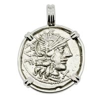 Roman Republic 122 BC, Roma and Dioscuri denarius in 14k white gold pendant.