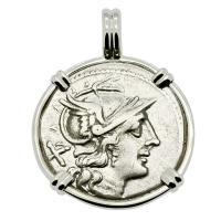 Roman Republic 200-190 BC, Roma and Dioscuri denarius in 14k white gold pendant.