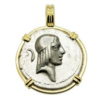 Roman Republic 64 BC, Apollo and Horseman denarius in 14k gold pendant.