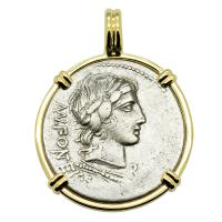Roman Republic 85 BC, Apollo and Cupid on goat denarius in 14k gold pendant.