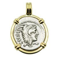 Roman Republic 105 BC, Queen Goddess Juno denarius in 14k gold pendant.