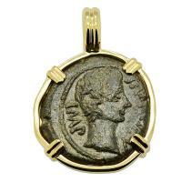 Roman Empire 8-1 BC, Emperor Caesar Augustus bronze quadrant in 14k gold pendant.