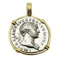 Roman Empire AD 103 - 111, Emperor Trajan and Aequitas denarius in 14k gold pendant.