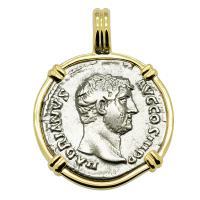 Roman Empire AD 133, Hadrian and Pietas denarius in 14k gold pendant.