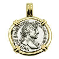 Roman Empire AD 121, Hadrian and Mars denarius in 14k gold pendant.