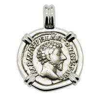 Roman Empire AD 161-162, Marcus Aurelius and Providentia denarius in 14k white gold pendant.