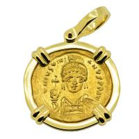 Byzantine AD 538-545, Justinian the Great gold solidus in 18k gold pendant.