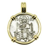 Venice 1268-1275, Jesus Christ and Saint Mark grosso in 14k gold pendant.