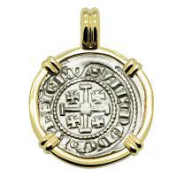 Cyprus 1285-1324, Henry II, last ruling King of Jerusalem, Gros Petit Crusader coin in 14k gold pendant.