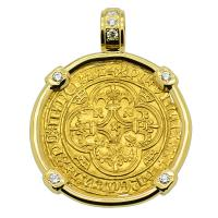 French 1380-1422, Charles VI Ecu d'or a la Couronne in 18k gold pendant with diamonds.