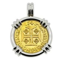 Portuguese 1000 Reis dated 1741, with cross and crown in 14k white gold pendant.