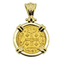 Portuguese 400 Reis dated 1723, with cross and crown in 14k gold pendant.
