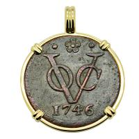 Dutch East Indies Company VOC duit dated 1746 in 14k gold pendant.