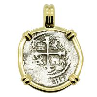 Colonial Spanish Mexico, King Philip III half real 1608-1610, in 14k gold pendant.