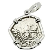 Colonial Spanish Peru, King Philip IV one real dated 1657, in 14k white gold pendant.