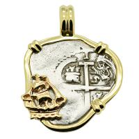 Colonial Spanish Peru, King Charles II one real dated 1682, in 14k gold galleon pendant.