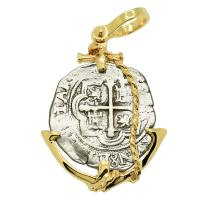 Colonial Spanish Mexico 2 reales 1610-1618, in 14k gold anchor pendant.
