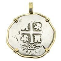 Colonial Spanish Peru, King Charles II two reales dated 1685, in 14k gold pendant.