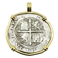 Colonial Spanish Mexico 4 reales 1571-1589, in 14k gold pendant.