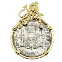 Spanish 2 reales dated 1783 in 14k gold Octopus pendant, The 1784 Shipwreck that Changed America.