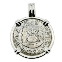 Spanish Pillar 1 real dated 1751 in 14k white gold pendant, The 1784 Shipwreck that Changed America.
