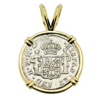 Spanish 1/2 real dated 1772 in 14k gold pendant, The 1784 Shipwreck that Changed America.