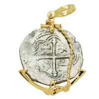 Spanish 4 reales 1589-1617, in 14k gold anchor pendant, 1622 Portuguese Shipwreck, Mozambique, Africa.