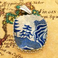 British Pottery Artifact in silver pendant, (1800 - 1820) Eastern Caribbean Sea Shipwreck.