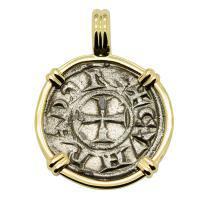 Italian 1139-1252, Crusader Cross denaro in 14k gold pendant.