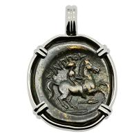 Greek 359-336 BC, King Philip II Horseman and Apollo bronze coin in 14k white gold pendant.