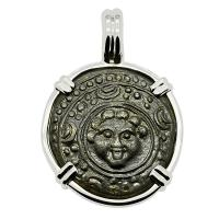 Greek 323-317 BC, Gorgon Shield and Macedonian Helmet bronze coin in 14k white gold pendant.