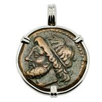 Greek 261-240 BC, Poseidon and Trident Tetras in 14k white gold pendant.