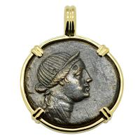 Greek 125-100 BC, Goddess of Women, Artemis bronze coin in 14k gold pendant.