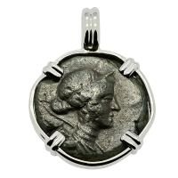 Greek 258-202 BC, Goddess of Women, Artemis bronze coin in 14k white gold pendant.