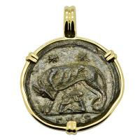 Roman Empire AD 330 - 336, She-Wolf Suckling Twins nummus in 14k gold pendant.