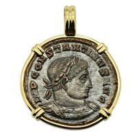 Roman Empire AD 315–317, Constantine and Sol follis in 14k gold pendant.