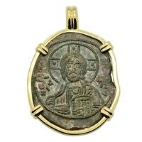 Byzantine 976-1025, bronze follis in 14k gold pendant.