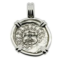 Greek 480-450 BC, Gorgon and anchor drachm in 14k white gold pendant.