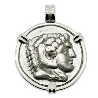 Greek 328-323 BC Lifetime Issue, Alexander the Great tetradrachm in 14k white gold pendant.