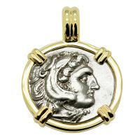 Greek 323-317 BC, Alexander the Great drachm in 14k gold pendant.
