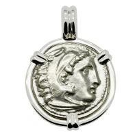 Greek 323-319 BC, Alexander the Great drachm in 14k white gold pendant.