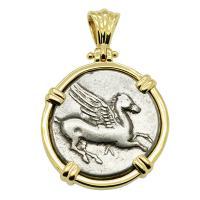 Greek 320-280 BC, Pegasus and Athena stater in 14k gold pendant.