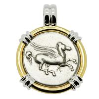 Greek 350-320 BC, Pegasus and Athena stater in 14k white and yellow gold pendant.